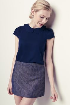 A tweed skirt + a Peter Pan collar = Perfection