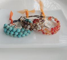 Emma SP in turquoise, brown agate mix and orange agate mix. Layered Bracelets, Agate Beads, Classic Outfits, Turquoise Beads, Bracelet Designs, Wearable Art, To My Daughter, Pumpkin Designs, Jewelry Design