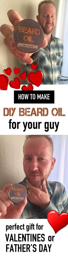 Do you know a guy with a beard? Here's how to make homemade beard oil--for a fraction of the cost of store-bought! This simple recipe uses easy to find ingredients (plus has FREE LABELS!) Goodbye scratchy and scruffy. Hello soft, snuggly (and sexy)! Homemade Beard Oil, Diy Beard Oil, Diy Christmas Gifts For Family, Gifts For Kids, Holiday Fun, Diy Gifts, Best Gifts, Birthday Diy, Birthday Gifts