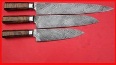 3 CHEF KNIVES WITH NATURAL WOOD HANDLE /JAN1625