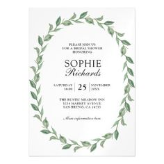 #invitations #wedding #bridalshower - #Botanical Wreath | Modern Bridal Shower Typography Magnetic Card