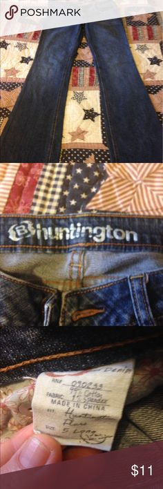 Size 5 long Size 5 long B Huntington jeans good condition. Bottom of legs wore. Smoker huntington  Jeans Flare & Wide Leg