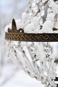 Chandelier for a winter wedding. Chandeliers, Chandelier Lighting, French Chandelier, Chandelier Shades, Vintage Chandelier, Snow And Ice, Snow Queen, Ice Queen, Shades Of White