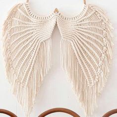 Angel Wings Macrame- Macrame Wallhanging- Angel Wings Wall Decor- Angel Wings Art- Macrame Wall Deco Source by etsy Diy Macrame Wall Hanging, Macrame Curtain, Macrame Art, Macrame Projects, Etsy Macrame, Macrame Mirror, Angel Wings Art, Angel Wings Wall Decor, Angel Art