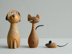 Danish Modern Cryptomeria Wood Dog Cat and Mouse by MonkiVintage, $48.00