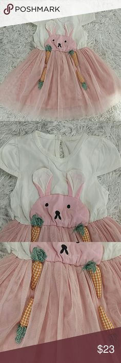 Pink Bunny Dress. Kids Adorable pink and white tutu dress with bunny on the front and 3d carrots.  Beautiful! !! This item is brand new and never used. No tags. Dresses