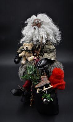OOAK Art Doll, Vintage Father Christmas, St Nick, Saint Nicholas, OOAK Santa, OOAK, Sculpture, Art Doll, Christmas by HippieHags on Etsy Wire Frame Glasses, Santa Sack, Saint Nicholas, Father Christmas, Brown And Grey, Sculpture Art, Art Dolls, Little Ones, Halloween