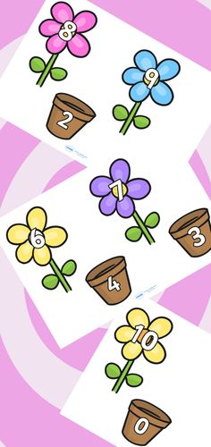 Number Bonds to 10 on Flowers and Pots Numbers Preschool, Math Numbers, Preschool Math, Kindergarten Math, Math Activities, Math Math, Number Bonds To 10, Year 1 Maths, 1st Grade Math