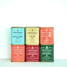 Twinings tea tin collection by ojoli on Etsy Vintage Packaging, Tea Packaging, Product Packaging, Nespresso, Irish Breakfast Tea, Twinings Tea, Starbucks, Tea Tins, Christmas Tea