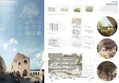 Paris Market Lab Architecture Competition for Students Finalist project Poster Architecture, Architecture Graphics, Architecture Board, Architecture Portfolio, Architecture Drawings, Landscape Architecture, Architecture Diagrams, Rendering Architecture, Islamic Architecture