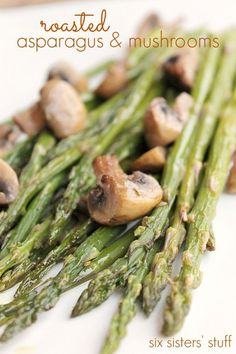 Roasted Asparagus and Mushrooms. This quick and easy side dish is healthy and delicious. It makes a great snack, too!