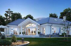 Dom nawiązuje stylistycznie do Modern Bungalow Exterior, Modern Bungalow House, Modern Farmhouse Exterior, House Plans Mansion, Family House Plans, Three Bedroom House Plan, Village House Design, House Front Design, Modern House Design