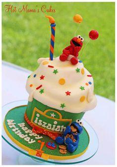 Elmo's Giant Cupcake - by hotmamascakes @ CakesDecor.com - cake decorating website