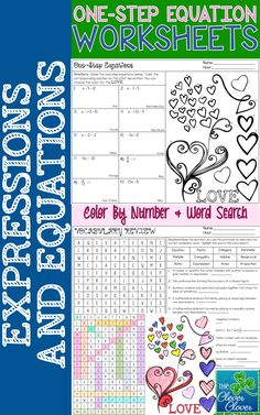 One-Step Equations Color By Number and Vocabulary Word Search - This resource provides practice with one-step equations.  Students complete ten problems (mixture of addition, subtraction, multiplication and division) in the space provided.  On a second page, students are also given an opportunity to practice their knowledge of various math vocabulary words by completing a matching activity and word search.