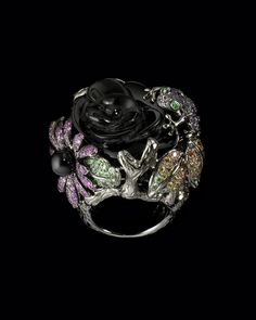 Onyx Diamond Flower Ring Lydia Courteille Collection CoutureLab com - Stylehive