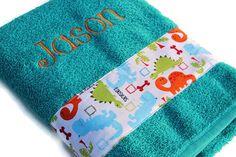 Personalized Bath Towel Custom Towel Dinosaur Towel by flyinshirer