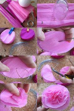 Confira o passo a passo de várias flores lindas feitas com papéis... show!!! Tissue Paper Flowers, Paper Roses, Felt Flowers, Diy Flowers, Fabric Flowers, Diy Fleur Papier, Diy Paper, Paper Crafts, Diy And Crafts
