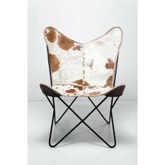 Een hippe vlinderstoel met een zitting gemaakt van echt leder.