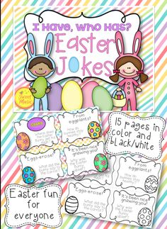 """If your students love to laugh and love to tell jokes, this is the perfect addition to your classroom. """"I Have, Who Has"""" Easter Jokes Edition will have your students laughing while practicing their reading and presentation skills. This game can be used for brain break activities and is also a great resource for substitute teachers. NOW INCLUDES A WRITE THE ROOM ACTIVITY $"""