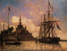The_Port_of_Rotterdam Johan Barthold Jongkind (3 June 1819 – 9 February 1891) was a Dutch painter and printmaker. He painted marine landscapes in a free manner and is regarded as a forerunner of Impressionism.