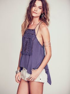 Free People Embroidered Strappy Cross Back Tank, $88.00