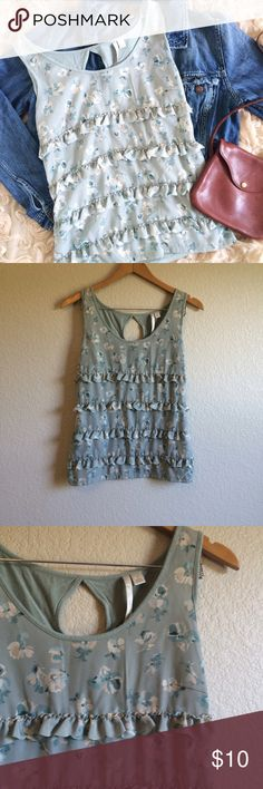 """Lauren Conrad • Top This floral tank has ruffles down the front and a key hole in the back.  Length➝24"""" Bust flat➝16"""" LC Lauren Conrad Tops Tank Tops"""