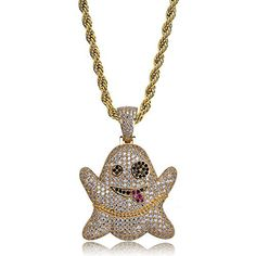 "13bab20bbf7e Iced out CZ Cluster Lab Diamond Emoji Ghost Pendant 24"" Stainless Steel Necklace  Hip Hop"