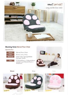 John Black Style's Korean Life: Blooming Home 14steps Reclinable Floor Chair Cute Cat Paws Soft Suede Cushioning