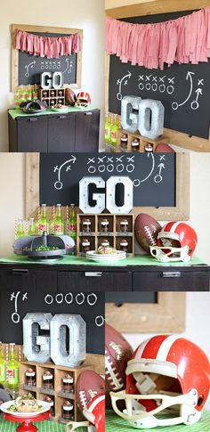 Game Day Football Party Ideas - including a baked potato bar! Soccer Birthday Parties, Adult Birthday Party, Birthday Dinners, Theme Parties, Football Tailgate, Football Snacks, Football Banquet, Football Parties, Football Humor