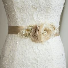 Bridal sash Wedding dress sash Floral sash Floral by LeFlowers