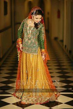 Pakistani/Indian yellow and green mehndi lehenga Pakistani Mehndi Dress, Pakistani Bridal Couture, Bridal Mehndi Dresses, Pakistani Wedding Outfits, Bridal Outfits, Pakistani Dresses, Indian Dresses, Nikkah Dress, Bridal Lehenga