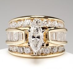 Marquise Diamond Engagement Ring Wide Band Solid 14K Gold Fine Estate Jewelry | eBay