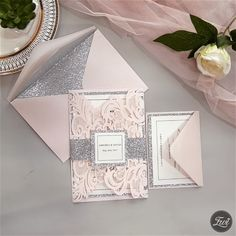Faire-part mariage - invitation mariage - - Blush pink and silver laser cut wedding invitations DIY inspiration Laser Cut Wedding Invitations, Diy Invitations, Elegant Wedding Invitations, Wedding Invitation Cards, Wedding Cards, Diy Wedding, Dream Wedding, Wedding Day, Wedding Venues