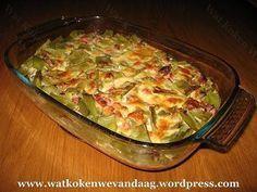 Ovenschotel met snijbonen en ham