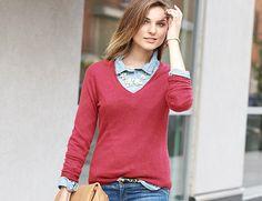 Cashmere Addiction Women's Long Sleeve V-Neck Sweater