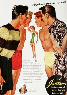 It is an absolutely stunning idea to bring vintage bathing suits back into fashion for both modeling purposes and beachwear. Also called retro bathing suits that make any women look hip and sexy. Vintage Bathing Suits, Vintage Swimsuits, Pin Up, Vintage Advertisements, Vintage Ads, Retro Ads, Retro Swim, Vintage Posters, Vintage Style