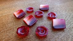 9 Bright Red Fancy Plastic Vintage by wehavegoodtaste on Etsy