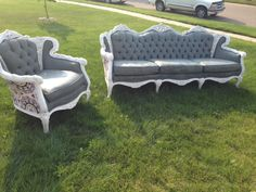 Hometalk :: Painting Antique Couch and Chair Upholstery