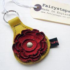 Handmade leather Key Fob Key ring Daffodil leather by Fairysteps, £10.00