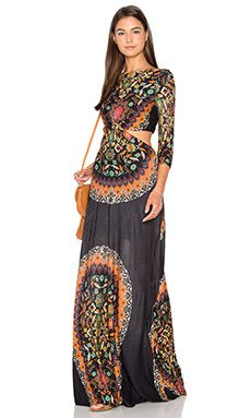 FARM Cutout Maxi Dress in Multi