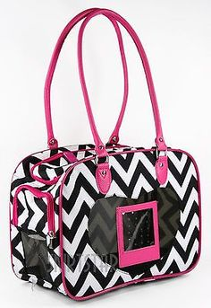 Dog Carrier Pet Cat Chevron Pink Travel Puppy Nylon Purse Bag Black White Small