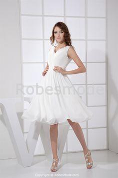 Robe de mariée courte simple V col en mousseline de soie € 83.99