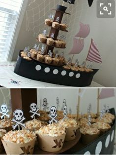It& a pirate party! Deco Pirate, Pirate Theme, Pirate Food, Peter Pan Party, Nautical Party, Mermaid Birthday, Pirate Birthday Cake, 4th Birthday Parties, 5th Birthday