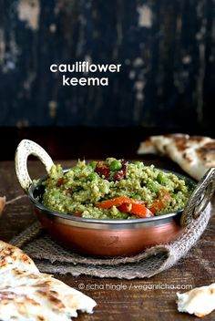 The best Gobi Mutter Keema - Minced Cauliflower and Peas in Cilantro Onion curry. Cauliflower used for keema. Easy Vegan Gluten-free Soy-free Indian Recipe.