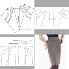 pencil skirt pattern with front detailing: