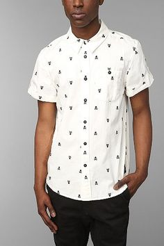 KC By Kill City Skull Embroidery Button-Down Shirt