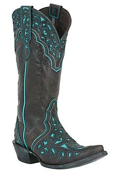 @Karen Scott Brown Ariat Presidio Ladies Dark Chocolate w/ Ornate Aqua Inlay Pointed Toe Western Boot