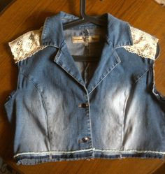 DENIM VEST DIY This is my vest I finished today. It's simply a modified denim jacket from second hand store