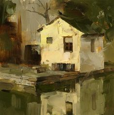 """Daily Paintworks - """"A Small House"""" - Original Fine Art for Sale - © Qiang Huang"""