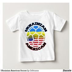 #Ukrainian American #Soccer Baby T-Shirt.Designs available on a wide range of t-shirts and hoodies. #Ukraine #UkrainianFlag